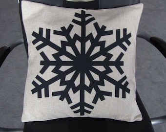 Snowflake pillow cover on Canvas/Burlap