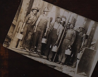 Vintage Antique 1915 RPPC Workers Photo Postcard Workwear Overalls