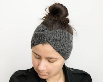 Headband woman wool headband wool headband woman, knitted, alpaca, crossover, headband headband headband headband, twist headband gray headband