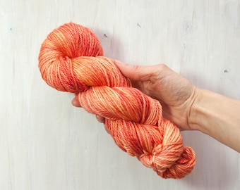Hand dyed yarn, worsted yarn, coral yarn, orange yarn, semi solid yarn, merino yarn, superwash yarn, dyed yarn, aran yarn, peach yarn