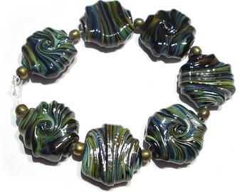Handmade  Lampwork Glorious chalcedonyTwist  Whirled Glass Tabular Beads