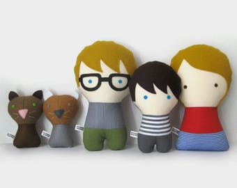 Personalized Family with cats. Plush doll. Custom your own family. Customize.