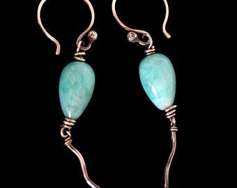 FREE SHIPPING---Blue Peruvian Opal BALLOON Dangle Earrings---Sterling Silver---Creations by Sandy