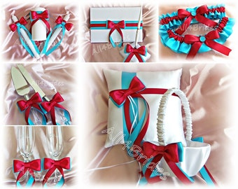 Turquoise and Red Wedding basket, pillow, garter set, guest book, unity candle set, cake cutting  knife set and champagne glasses