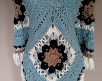 Crocheted ponco
