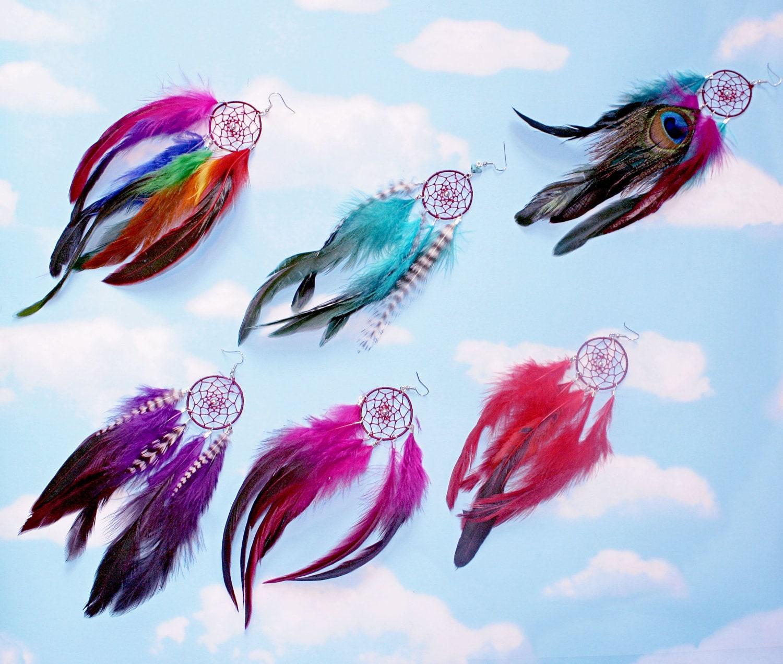 Handmade dream catcher feather earring set extra long 8 9 zoom buycottarizona