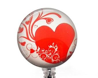 ID Badge Holder - Red Heart on White Photo Glass on Badge Reel, Name Badge Holder - 301