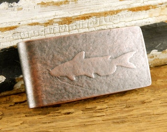 Catfish money clip, engraved money clip, personalized gifts for him.