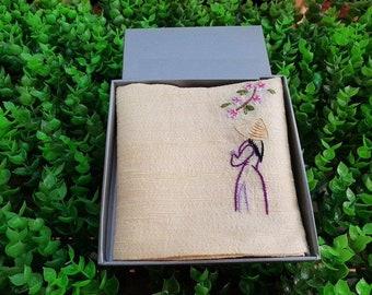 Silk handkerchief, Ms Viet Nam Handmade embroidery  handkerchief, Free Shipping
