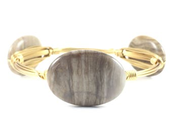 Silver Leaf Jasper Oval Wire Wrapped Bangle - Fall Wire Jewelry - Gemstone Bangle - Gifts Under 25 - Gift For Her - Courtney And Courtnie