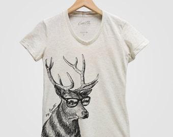 DEER Shirt Women Custom Hand Screen Print Tri-Blend Short Sleeve Tshirt Available: S, M, L, XL