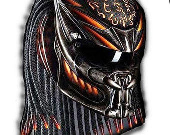 Impressive Predator Helmet Street Fighter Mix Carbon and Roving Material  - DOT Approved