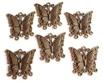 6 Links, Finding Supply, 6 Chandelier Butterfly Components, Antiqued Bronze Colored, 30mmX23mm6