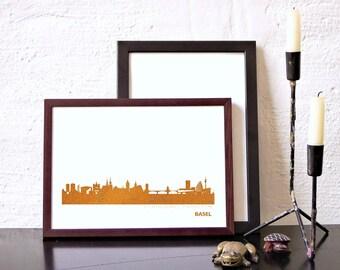 Unique BASEL Honeymoon Poster, pink gold BASEL skyline, modern hygge artwork, BASEL art print, wedding guestbook, college graduation gifts