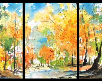 Triptych June 2018 no.1, limited edition of 50 fine art giclee prints from my original watercolor