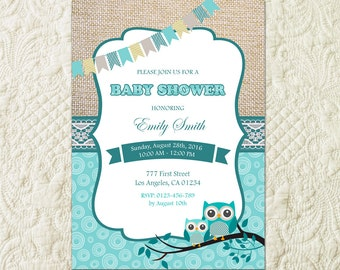 Owl Baby Shower Invitation, Aqua Mint Teal Baby Shower Invitation, Baby Boy Shower Invitation, Boy Baby Shower Invite, Gender Neutral Shower