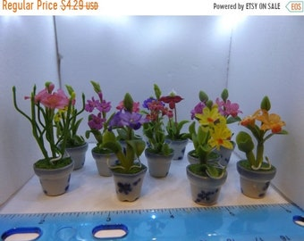 Sale Miniature Fairy Garden or Dollhouse Garden Supplies Random Flower in Pot