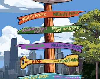 Chicago, Illinois - Destination Signpost (Art Prints available in multiple sizes)