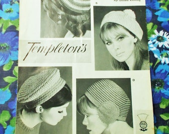Vintage Templeton's Crochet & Knitting  Pattern - Late 1950's/early 1960's - Pattern no. 1454 - 4 hats for a lady - used