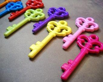 Skeleton Key Pendants Acrylic Key Charms Rainbow Keys Assorted Keys Magic Keys To the Castle Acrylic Key Pendants 57mm 5pcs