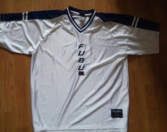 FUBU jersey, vintage white t-shirt of 90s hip-hop clothing, 1990s hip hop shirt, old school basketball, OG, gangsta rap, size XL