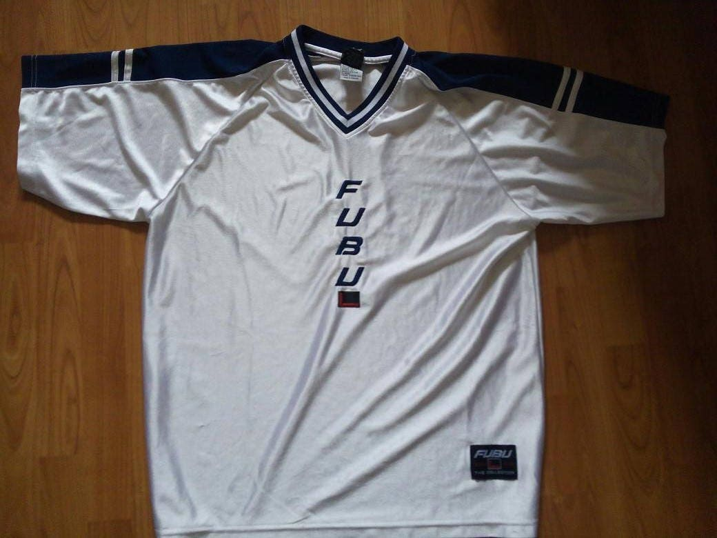 FUBU jersey vintage white t-shirt of 90s hip-hop clothing