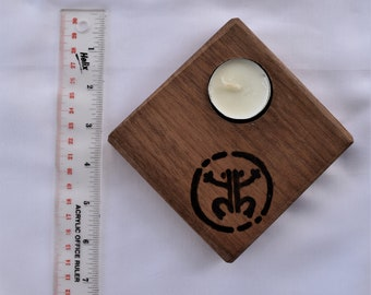 Candle Holder, wood, taino, frog, indian, tribal, hand crafted, tea ligth, pyrography. wood burn