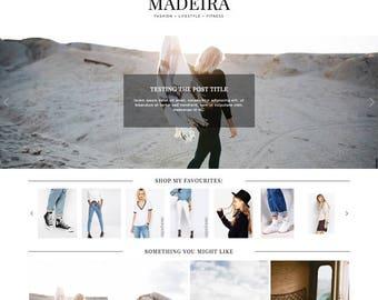 "Wordpress Theme ""Madeira"" / Responsive Instant Digital Download Premade Blog Template Design"