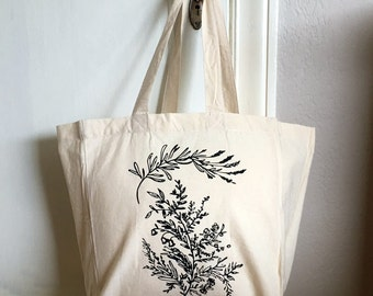 Market Tote Bag - Spring Flowers - Cotton Tote - Reusable Grocery Bag - Book Bag - Beach Bag