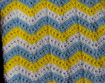 New Baby Infant  Toddler Ripple Hand Knit Blanket  Afghan in Yellow White Blue for Baby or props in Pictures
