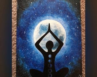 Moonlit Yoga Acrylic Painting