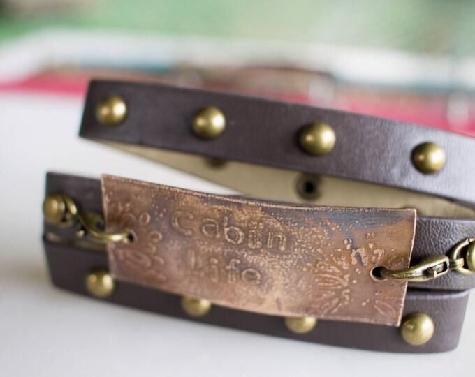 Cabin Life wrap bracelet, faux leather bracelet, bronze bracelet, metal cuff, etched bronze, etched metal