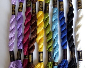 Set of 3 skeins of Perle cotton embroidery FLOSS DMC 5, 25 meters, choose bright colors
