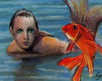 original art  aceo drawing mermaid goldfish fantasy