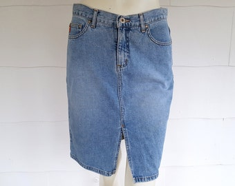 "30"" Waist 90s Guess Skirt Denim Jean Skirts Faded Distressed Light Wash Front Slit 1990s Guess Knee Length Pencil Skirt"