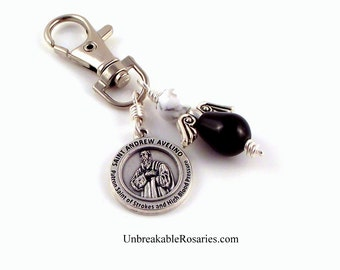 Stroke Victims Healing Saint Angel Charm St Andrew Avellino by Unbreakable Rosaries