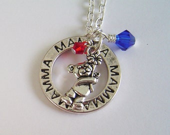 "Dainty Personalized Necklace with Two Birthstones, ""Mamma"" Massage Washer and a bear Necklace for Mom Mother Mamma Grandma,Mothers Day"