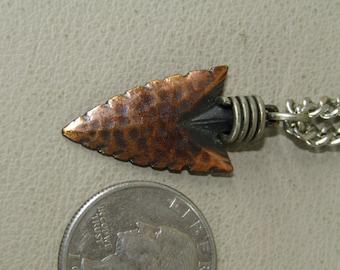 Vintage copper arrowhead necklace