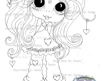 INSTANT DOWNLOAD Digital Digi Stamps Big Eye Big Head Dolls Digi  Img208 By Sherri Baldy