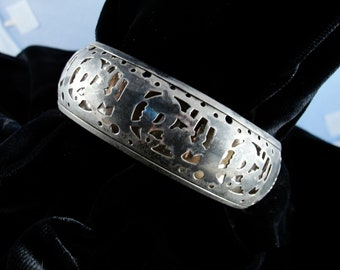 Massive Vintage Openwork Cutout Silver Bangle from India
