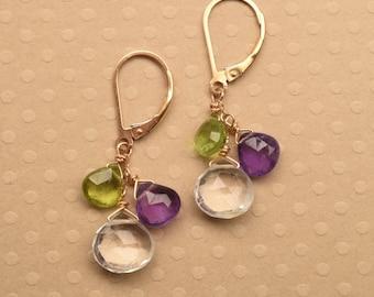 Peridot Amethyst Earrings, Gemstone Dangle Earrings, Purple Green Earrings, Crystal Quartz Earring, Birthstone Earrings