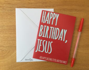 Red Funny Recycled Christmas Cards | Happy Birthday, Jesus | Sarcastic Gift for Atheist, Holiday Greetings Card, Snail Mail