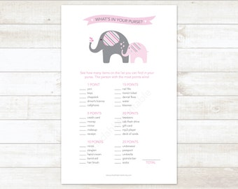 elephants baby girl shower game printable what's in your purse elephants baby girl shower pink baby shower digital games - INSTANT DOWNLOAD