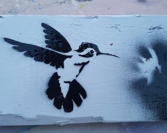 Black on White hummingbird