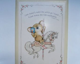"Vintage 1979 Hallmark Plaque ""Love doesn't make the world go 'round... it just makes the ride worthwhile."" Franklin P. Jones Merry go Round"