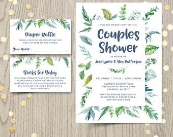 Couples baby shower invitation, gender neutral spring green nature leaves, botanical garden invite, tropical jungle theme, DIGITAL only
