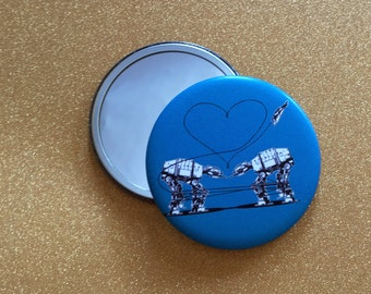 2.25 Inch Giant AT-AT Love Mirror - Blue, Star Wars Mirror, Star Wars Gift, Star Wars Party, Pocket Mirror, Compact Mirror, Hand Mirror