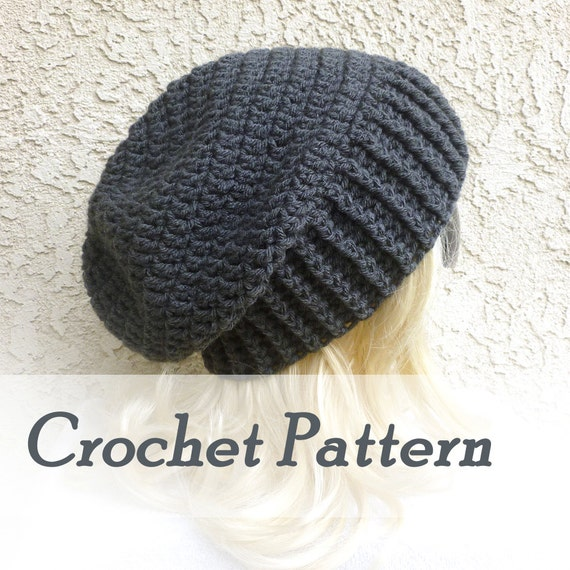 Crochet Pattern Instant Download Biker Ribbed Slouchy Beanie