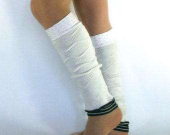 Leg warmers / white & black polkadots honeycomb motif and stripes / boho chic / dance accessory / women leg warmers /DominiqueJuliette