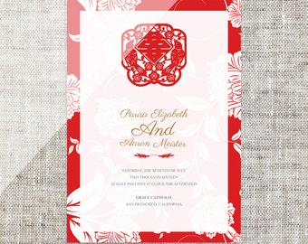 DIY Printable / Editable Chinese Wedding Invitation Card Template Instant Download_Traditional Red Flowers Paper Cut 婚禮喜帖喜喜Double Happiness